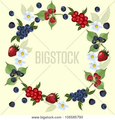 Frame Of Strawberries And Cranberries With Green Leaves