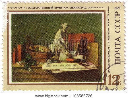 Ussr - Circa 1973: A Stamp Printed By Ussr Shows A Picture Still Life With Skulpture, By Jean-baptis