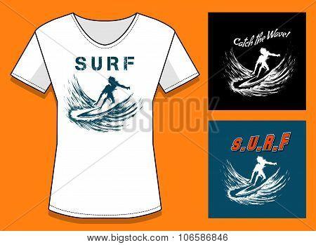 Surfing Print Designtemplate