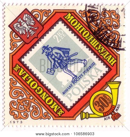 Mongolia - Circa 1973: A Stamp Printed In Mongolia Shows Polish Postman, Circa 1973