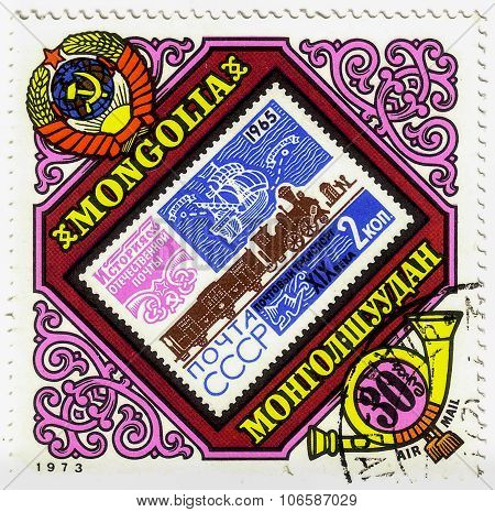 Mongolia - Circa 1973: A Stamp Printed In Mongolia Shows Post Stamp Ussr 1965 With Postal Of Transpo