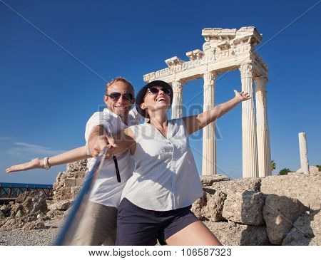 Happy Young Couple Take A Selfie Photo On Antique Ruins
