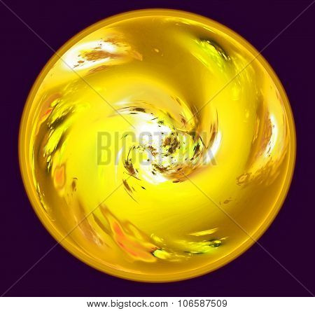 Abstract sphere resembling yellow planet with atmosphere in dark space. Fractal art graphics