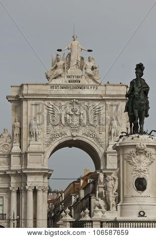 Architectural Close Up Of The Equestrian Statue Of King Joseph