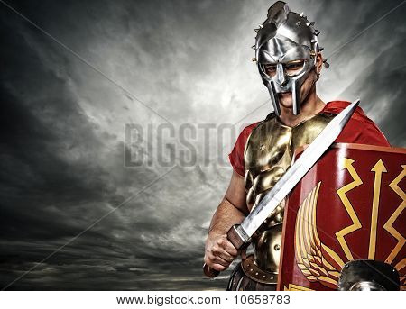 Picture of a legionary soldier over stormy sky