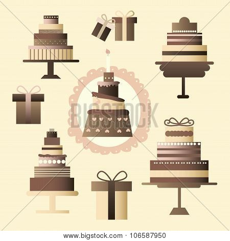Icons Set Consists Of A Multi-tiered Cakes And Chocolate Boxes In Pastel Colors - Gifts To Different
