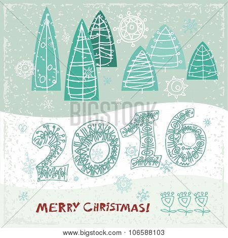 Happy New Year greeting card.  Celebration background with Christmas Landscape, Vector Illustration
