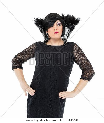 Actor Drag Queen Dressed As Woman Showing Emotions