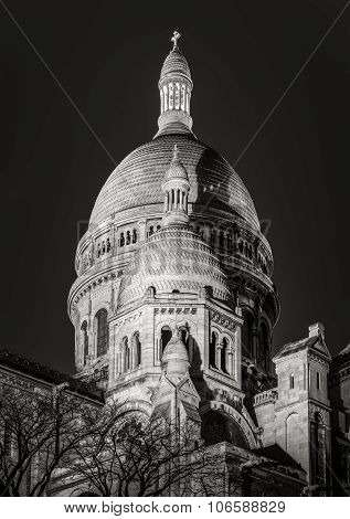 Black & White Sacre Coeur Basilica At Night, Montmartre, Paris