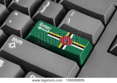 Enter Button With Dominica Flag