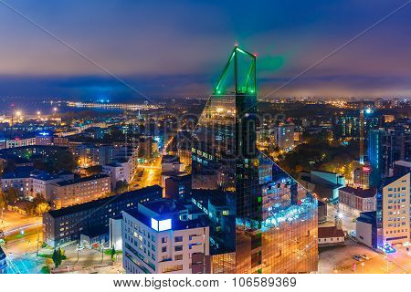 Aerial view city at night, Tallinn, Estonia
