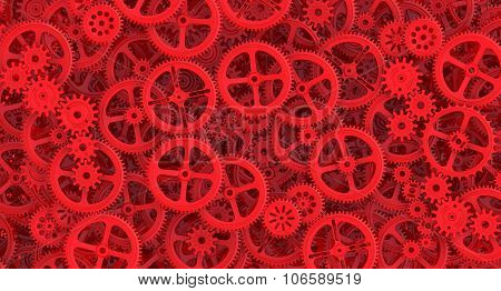 Background from red cogwheels
