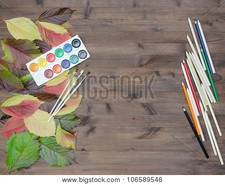 Art Background. Es On Wooden Table