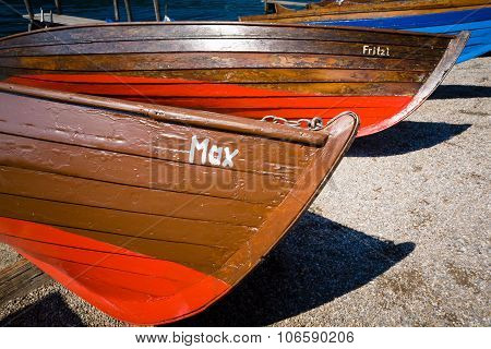 Wooden Rowboat In Millstatt, Carintia Austria