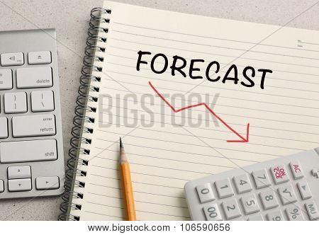 forecast showing decrease sign