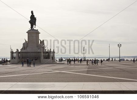 People Around King Jose Equestrian Statue In Lisbon
