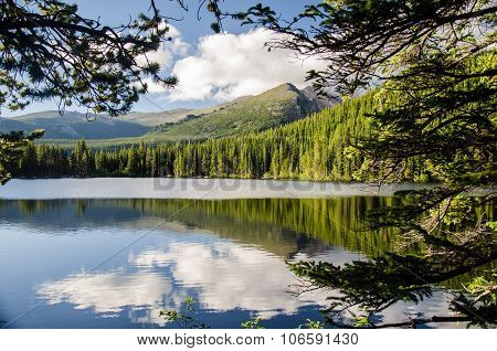 Landscape Of Rocky Mountain Glacial Lake