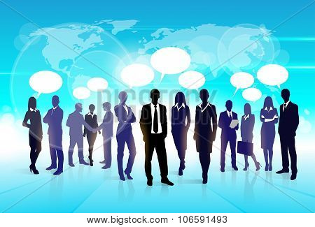 Business People Team Speech Communication Bubble Businesspeople Social Group Silhouette