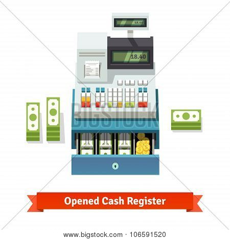 Opened cash register, paper money and coins inside