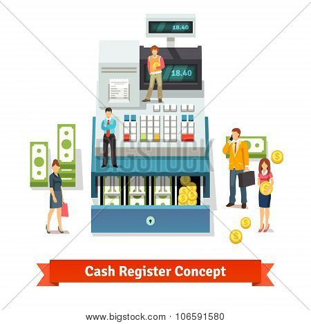 People standing near an opened cash register