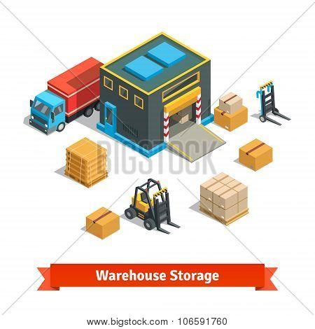 Wholesale warehouse storage building with forklift