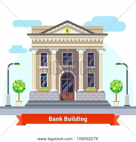 Facade of a bank building with columns