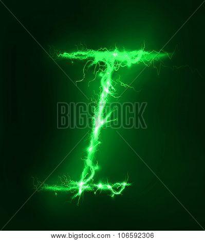 Alphabet made of electric lighting, thunder storm effect. ABC