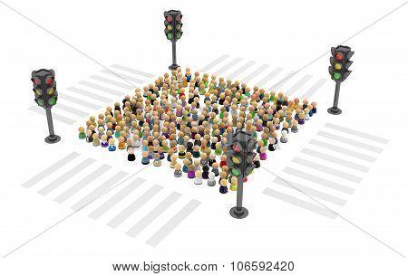 Cartoon Crowd, Traffic Light Square
