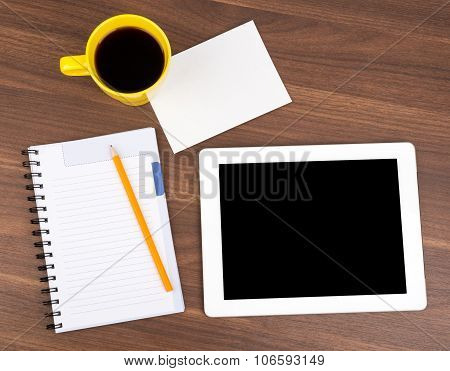 Blank copybook with tablet and small card