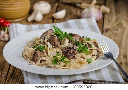 Homemade Tagliatelle With Meat Balls