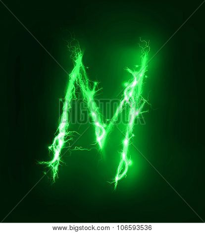 Alphabet made of electric lighting, thunder storm effect. ABC