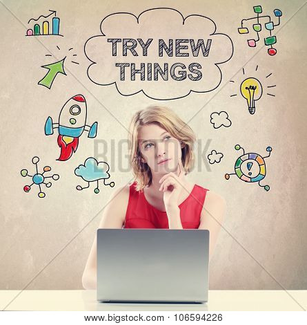 Try New Thing Concept With Young Woman