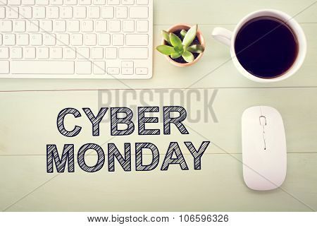 Cyber Monday Message With Workstation