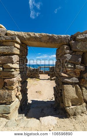 Stone Doors On Island Of The Sun, Titicaca Lake, Bolivia