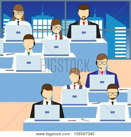 Men And Women Working In A Call Center. Support Service.