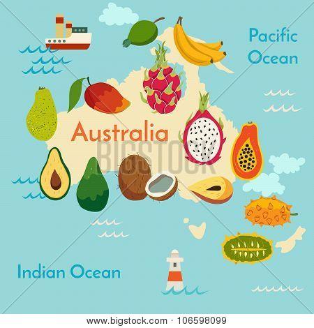 Fruit world map Australia