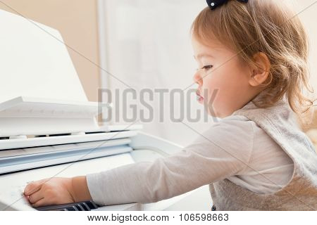 Little Toddler Girl Playing Piano