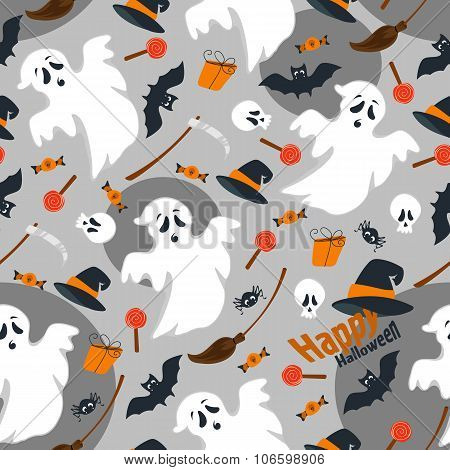 Seamless dark background, flat design illustration of Halloween