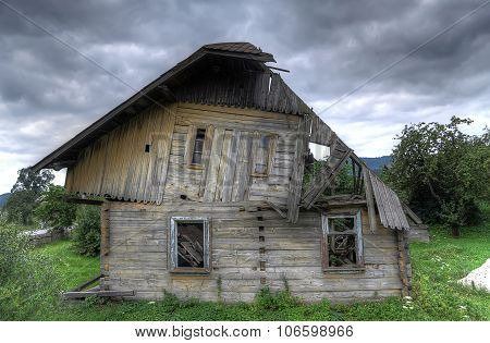 Ruined wooden house