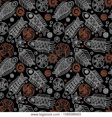 Decorative seamless background pattern with contour drawing of fishes and shells. Textile and wallpaper sea background. Vector illustration