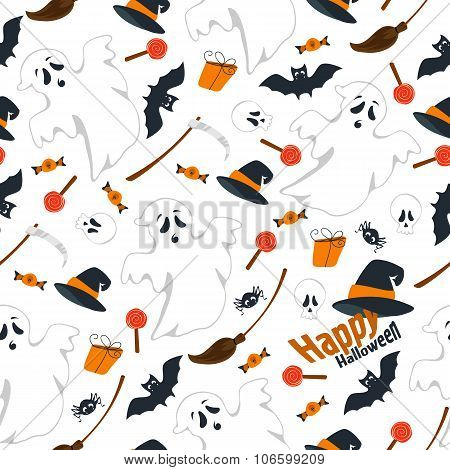 Seamless pattern design flat illustration of Halloween I really