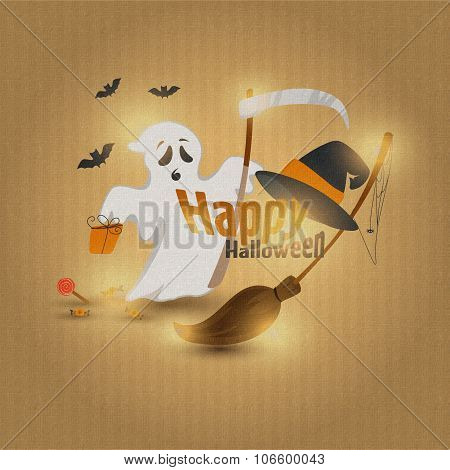 Vector illustration of flat design of a happy Halloween I really