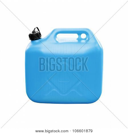 Blue Small Plastic Jerrycan Isolated On White