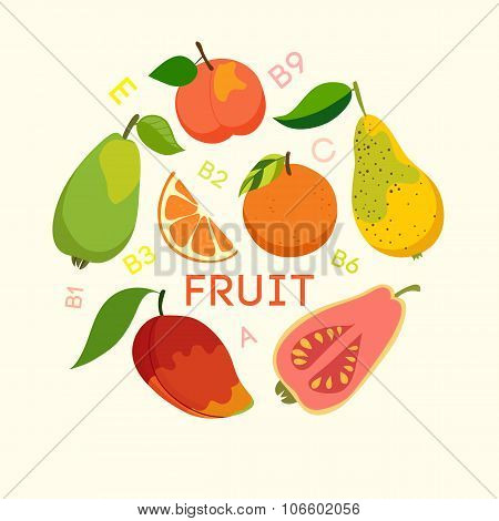 Healthy food fruits cellulose vitamins