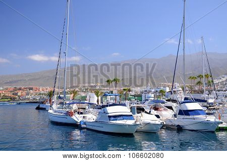 Boats and yachts in Puerto Colon yacht club in Costa Adeje Tenerife