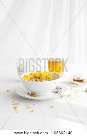 Healthy breakfast. Corn flakes, muesli, granola, with fresh orange juice
