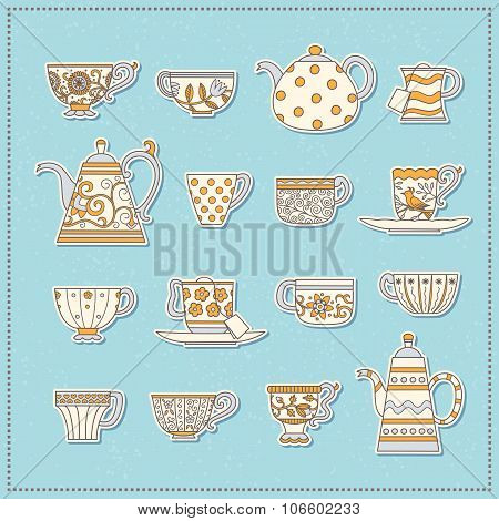 Set Of Stickers From Teacups And Teapots