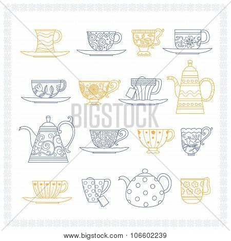 Set Of Teacups And Teapots