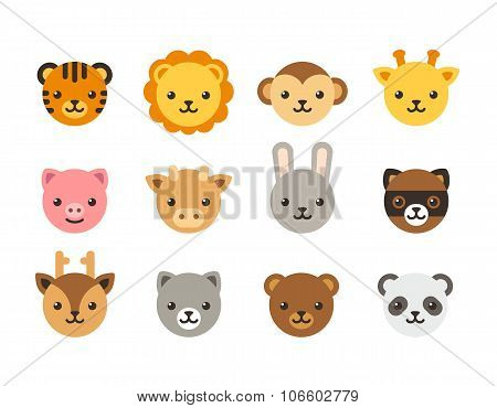 Cute Cartoon Animal Faces