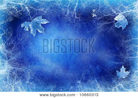 Blue Background With Ice And Leaves